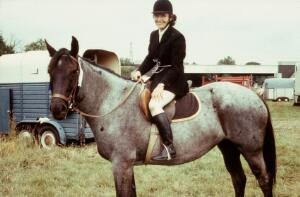 view A Blue Roan with rider, mid-Summer coat