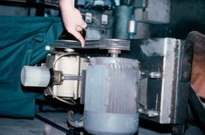 view Milking machine: checking belt tension