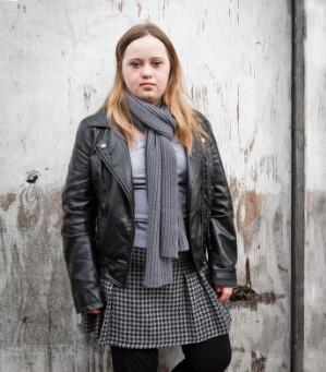 view Teenage girl with Down's syndrome