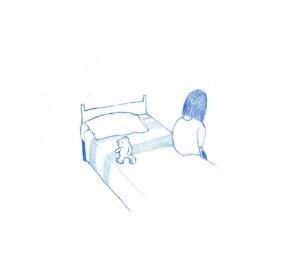 view A sad lonely child sits on her bed, anxiety, illustration