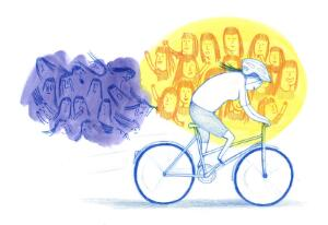 view Riding a bike to help social anxiety disorder, illustration