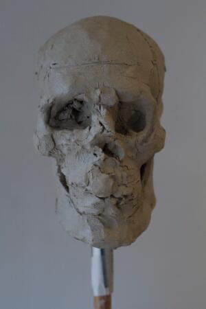 view Human head sculpted in clay, skull viewed from the front