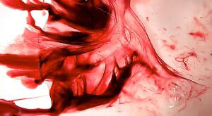 "view Menstrual blood, artwork title ""Red Dress 1"""