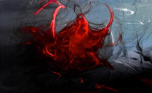 "view Menstrual blood, artwork title ""Red Rising"""