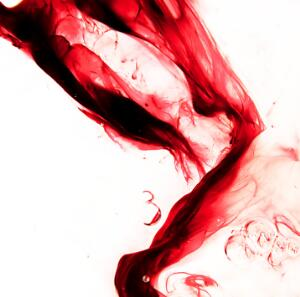 "view Menstrual blood, artwork title ""Ribbon 1"""