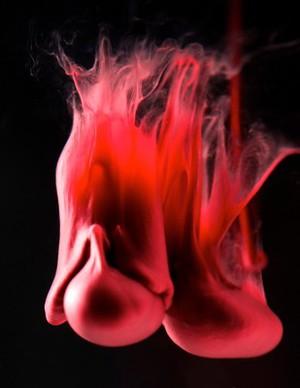 "view Menstrual blood, artwork title ""Unfolding"""