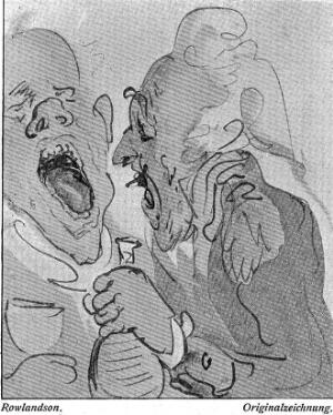 view Print by Thomas Rowlandson; no title. Two men: one has his mouth open; the other is holding a decanter.