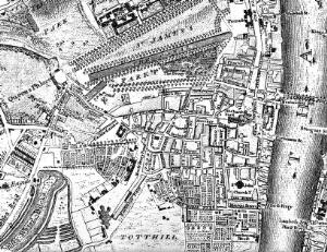 view Site of Westminster Hospital, 18th century.