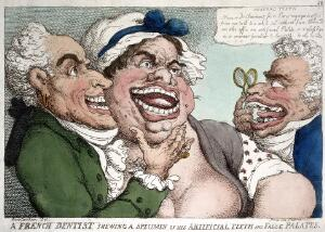 view A French dentist; by T. Rowlandson, 1811