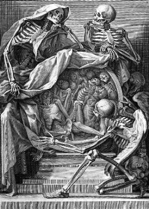 view Death, symbolism: three skeletons with roundel of corpses,