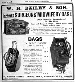 view Engravings: advertisment for anaesthetist's bags.