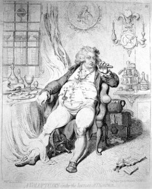 view James Gillray, 'A voluptary under the horrors of digestion'