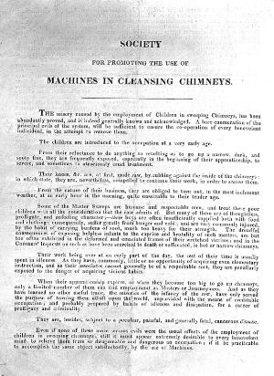 view Handbill: Society for use of machines in chimneys cleaning