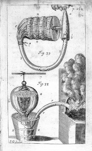 "view ""Rebreathing"" experiment, 18th century"