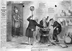 view A skeletal figure surveying three doctors around a cauldron, a parody of Macbeth and the three witches; promoting James Morison's alternative medicines. Lithograph.