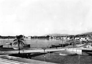 view Zante, Greece, the new quay after earthquake of 1953