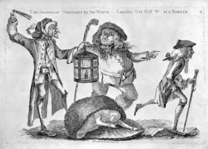 view A nightwatchman disturbs a body-snatcher who has dropped the stolen corpse he had been carrying in a hamper, while the anatomist, William Hunter (1718-1783), runs away. Etching with engraving by W. Austin, 1773.