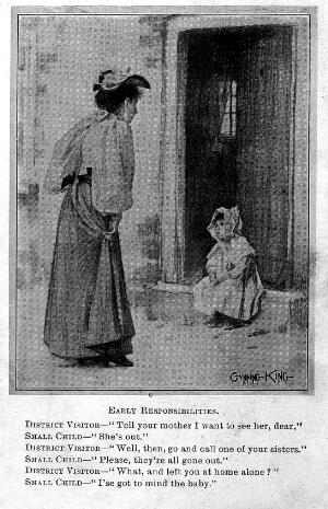 """view """"Early responsibilities"""", a drawing from Punch, 1900"""