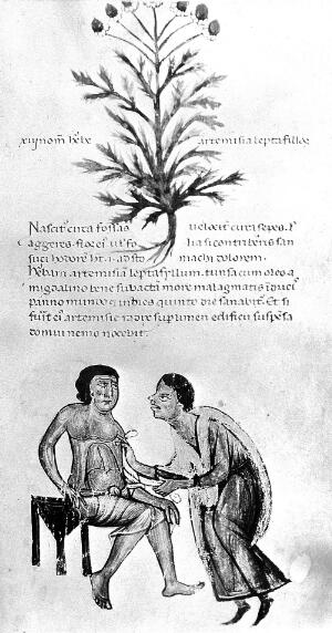 view Physician attempting to cure patient of stomach disorder.