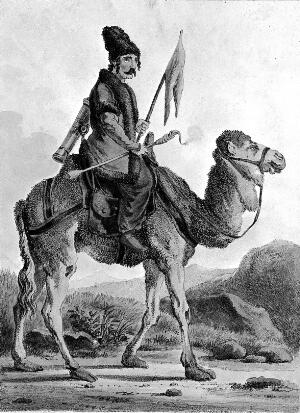 view A man carrying a flag is riding on a camel. Coloured lithograph by Hullmandel after A. Orlowski.