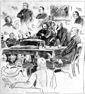 view Sketch portrait of Andrew Clark and Lord Kelvin and Prof. Huxley.