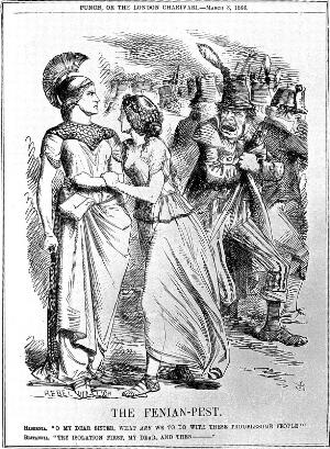 """view Satirical drawing: """"fenian-pest"""". Punch, 1866"""