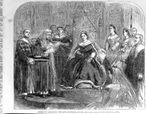 view Queen Victoria at the opening of Parliament, 1866. The Lord Chancellor reading the Royal Speech in the House of Lords. The Queen makes reference to the cattle plague and the orders which have been made to prevent the spread of the disease.
