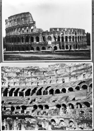 view Architecture. The Colosseum. Exterior and interior.