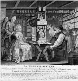 view Michel Schuppach in his pharmacy examining a young woman's urine who is seated opposite him awaiting the result. Line engraving by B. Hübner, 1775, after G. Locher, 1774.