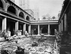view Roman baths at Bath; view of the ruins.