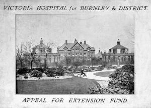 view Victoria Hospital. Facade. Brochure for 'Appeal for Extension Fund'.
