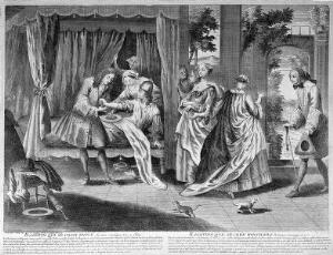 view A surgeon bleeding Ragotin's arm - upon waking and attempting to get dressed he discovered his clothes were too tight and he believes his body has swollen in the night. Engraving.