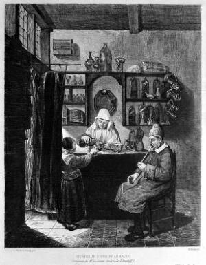 view A female apothecary mixing up a prescription for a child. Etching by G. Greux after Q.G. van Brekelenkam.