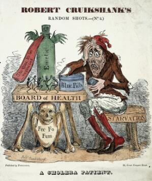 view A cholera patient experimenting with remedies. Coloured