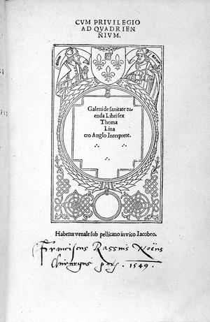 "view ""De Sanitate tuenda"", Galen, 1517"