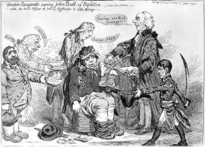 view James Gillray, 'Dr. Sangrado curing John Bull of repletion'