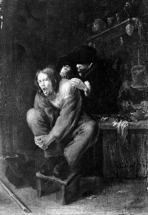 view Painting of quack operating on a young man.