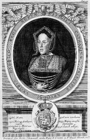 view Catherine of Aragon, first Queen of Henry VIII. Divorced in 1533 by Henry, who favoured Anne Boleyn.