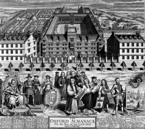 view Wadham College, Oxford: aerial panoramic view with influential important historic figures in the foreground. Line engraving by G. Vertue, 1788.