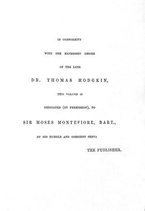 view Posthumous dedication to Sir M. Montefiore.