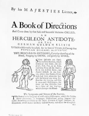 view Ad. for Herculeon Antidote for scurvy - 17th