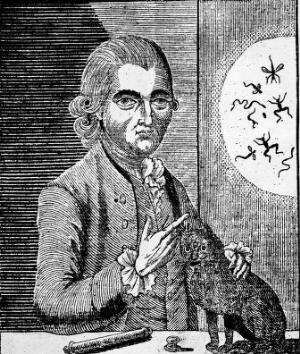 view Engraving of G. Katterfelto with a black cat.