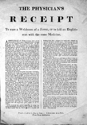 view Broadsheet: 'The physician's receipt'