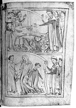 view 2 images of swooning/fainting women, 13th Century