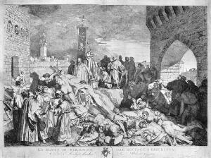 view The plague of Florence in 1348, as described in Boccaccio's Decameron. Etching by L. Sabatelli after himself.
