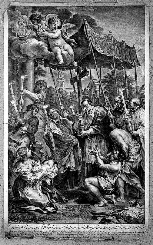view Saint Carlo Borromeo, with a rope around his neck, carrying a cross through the plague-ridden streets of Milan in 1576. Engraving by J. Frey, 1749, after Pietro da Cortona.