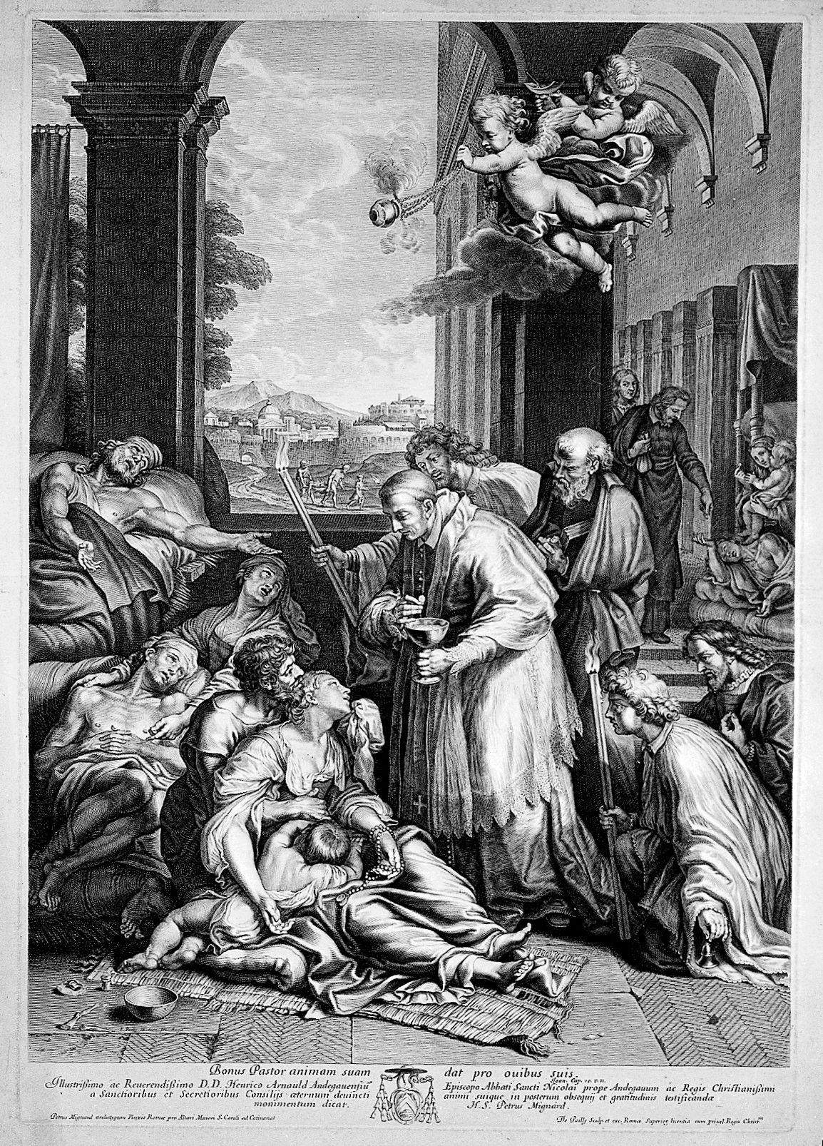 saint carlo borromeo administering communion to victims of