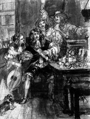 view A terrified man realizing he has just contracted the plague, surrounded by a group of people. Chalk drawing by E.M. Ward, 1848.