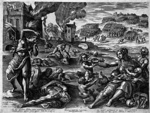 view Plague, war and famine. Etching by Sadler after M. de Vos.