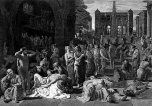 view The plague of Athens. Line engraving by J. Fittler after M. Sweerts.